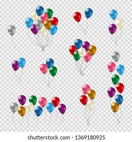 Bunches and groups of colorful helium balloons with glossy smooth surface isolated on transparent background.