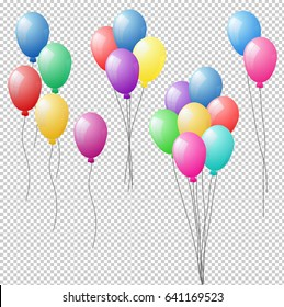 Bunches and groups of colorful helium balloons isolated on transparent background. Vector illustration, eps 10