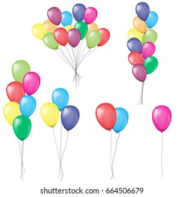 Bunches and groups of colorful helium balloons isolated. Illustrated vector. Each balloon and bunch grouped by separately