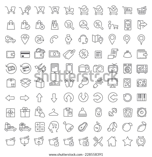 Bundle #002 Vector clean icons set for internet store applications and web interface. Made in flat graphic style. Nice details and easily identifiable. Ideal for clean design. Useful for infographics.