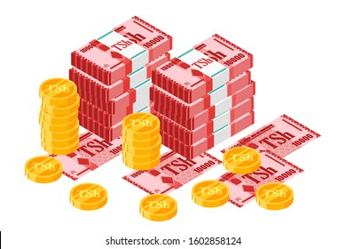 Bundle of 10000 Tanzania Shilling banknotes money and gold coin vector isometric design. New Zealand currency, business, finance and Payment element. Can be used for web, mobile, infographic, & print.