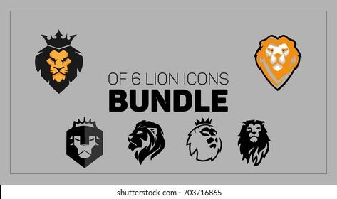 Bundle of 6 Icons, Lion logos