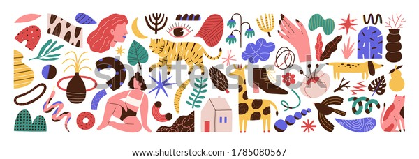 Bundle of abstract trendy doodle art. Set of hand drawn cat, dog, eye, woman, plant, curve, shape, object, blob. Design element. Flat vector cartoon illustration isolated on white background