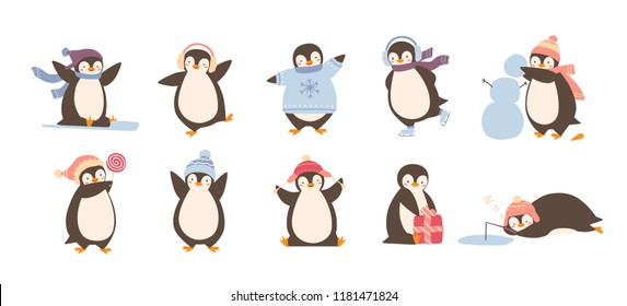 Bundle of adorable penguins wearing winter clothing and hats isolated on white background. Set of funny cartoon arctic animals in outerwear. Colorful childish vector illustration in flat style.