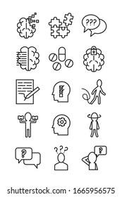 bundle of alzheimer set icons vector illustration design