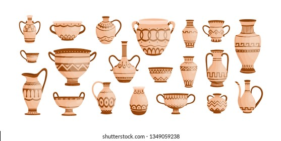 Bundle of ancient greek pottery isolated on white background. Collection of clay pots, vases and amphoras decorated by Hellenic ornaments. Set of archaeological artefacts. Flat vector illustration.