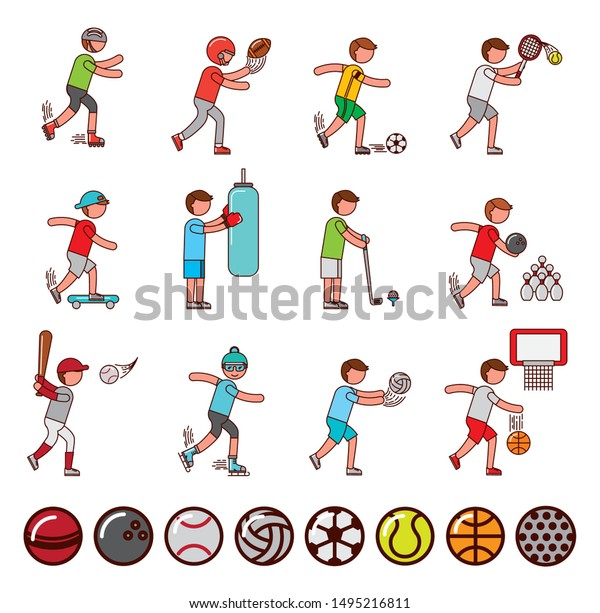 bundle of athletes and sports equipment icons vector illustration design