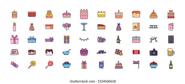bundle birthday with icons set vector illustration design