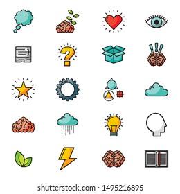 bundle of brain storming set icons vector illustration design