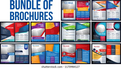 Bundle of brochure Flyer pamphlet poster cover design layout background vector illustration template blue color