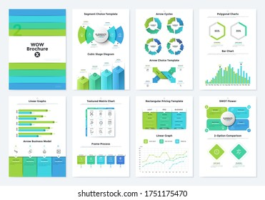 Bundle of brochure pages with bar and matrix charts, SWOT flower diagram, linear graphs, arrow cycles. Simple infographic design templates. Modern vector illustration for business data visualization.