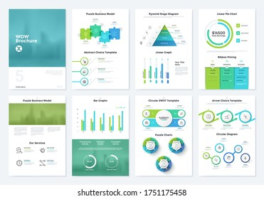 Bundle of brochure pages with pyramid and linear diagram, jigsaw puzzle charts, ribbon pricing table. Simple infographic design templates. Modern vector illustration for business information analysis.