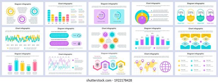 Bundle business and finance infographics presentation slides template. Different charts, diagrams, workflow, flowchart, timeline, schemes design template. Vector info graphic and infographics set.