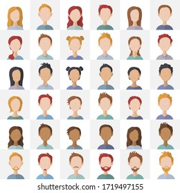 Bundle of business man and lady flat illustrations. Business people faces set of icons. Vector.