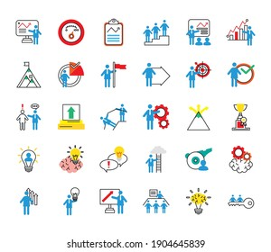 bundle of business people coaching and thirty half line style icons vector illustration design