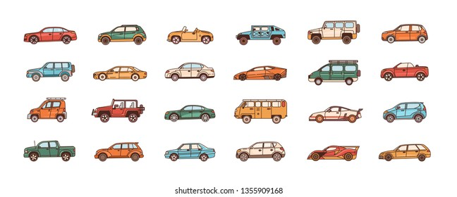 Bundle of cars of different body configuration styles - cabriolet, sedan, pickup, hatchback, van. Set of modern automobiles or motor vehicles of various types. Vector illustration in line art style.
