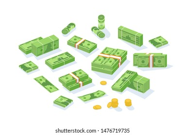 Bundle of cash money or currency. Set of United States dollar bills or banknotes in packs and rolls and cent coins isolated on white background. Modern colorful isometric vector illustration.