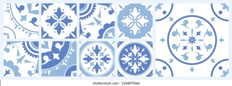 Bundle of ceramic square tiles with various traditional oriental patterns. Set of mediterranean decorative ornaments in blue and white colors. Vector illustration in vintage Azulejo or Moroccan style