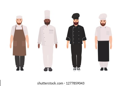 Bundle of chefs, cooks, professional restaurant staff, kitchen workers wearing uniform, apron and toque. Set of male cartoon characters isolated on white background. Flat cartoon vector illustration.
