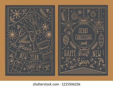 Bundle of Christmas and New Year greeting card templates with traditional holiday decorations drawn in line art style - gifts, baubles, champagne, light garlands. Monochrome vector illustration.