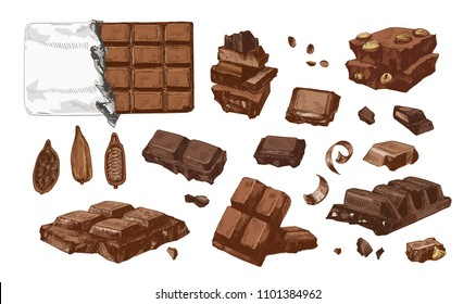 Bundle of colored drawings of whole and broken into pieces chocolate bars and cocoa beans. Tasty sweet dessert or confection hand drawn on white background. Vector illustration in vintage style