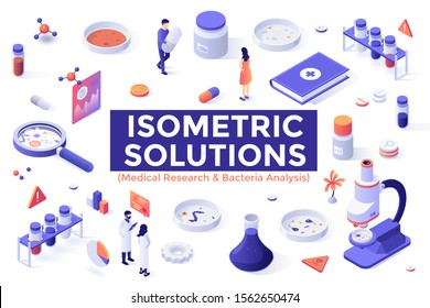 Bundle of colorful isometric design elements isolated on white background - antibiotic research, bacteria analysis, bacteriology laboratory equipment, medical tools. Modern vector illustration.
