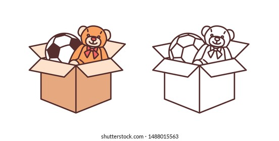 Bundle of colorful and monochrome drawings of teddy bear and football ball in carton box. Toys for children's entertainment isolated on white background. Modern vector illustration in line art style.