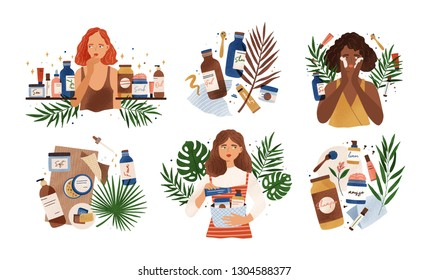 Bundle of compositions with cute young women, tropical leaves and natural organic cosmetics products in bottles, jars and tubes for skin care. Skincare routine set. Flat cartoon vector illustration.