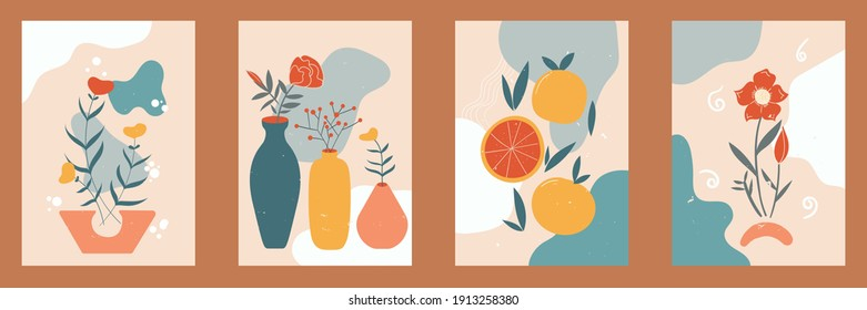 Bundle contemporary art, Abstract style in pastel colors for social media, posters, postcards, print. Hand drawn vase, leaves, flowers, fruits, oranges