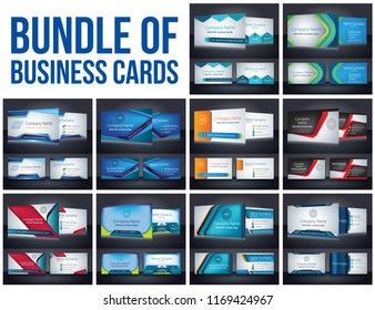 Bundle of Corporate Business Card template layout background vector illustration color