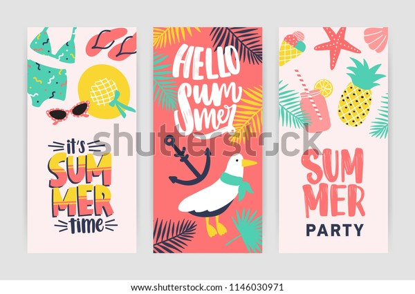 Bundle Creative Flyer Templates Summer Party Stock Vector Royalty Free 1146030971
