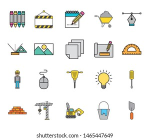 bundle of creative ideas set icons vector illustration design