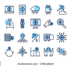 bundle of crypto currency icons line style vector illustration design
