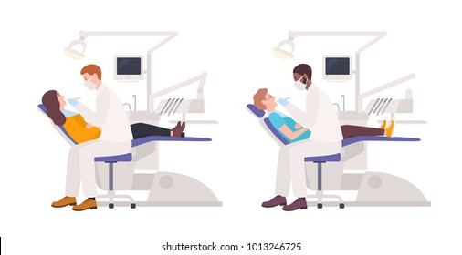 Bundle of dentists examining male and female patients lying in chairs. Set of dental surgeons treating man and woman isolated on white background. Flat cartoon characters. Vector illustration.