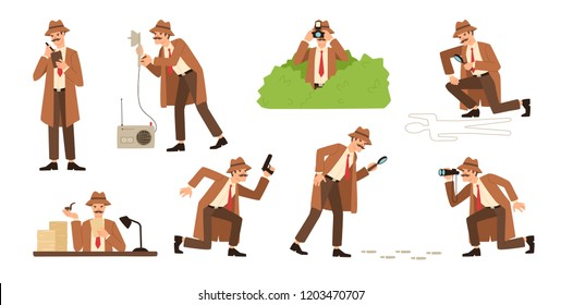 Bundle of detective with mustache looking through magnifying glass, sneaking, spying, solving crime, photographing. Male cartoon character isolated on white background. Flat vector illustration.