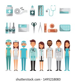 bundle of doctors and medical healthcare icons vector illustration design