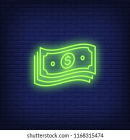 Bundle of dollar bills neon sign. Money, finance and banking concept. Advertisement design. Night bright neon sign, colorful billboard, light banner. Vector illustration in neon style.