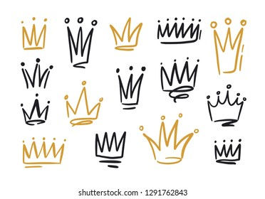 Bundle of drawings of crowns or coronets for king or queen. Symbols of monarchy, sovereign authority and power hand drawn with black and golden contour lines on white background. Vector illustration