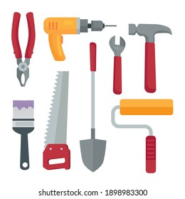 bundle of eight construction tools set icons vector illustration design