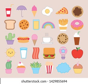 bundle of emojis bakery and fast food kawaii characters vector illustration design