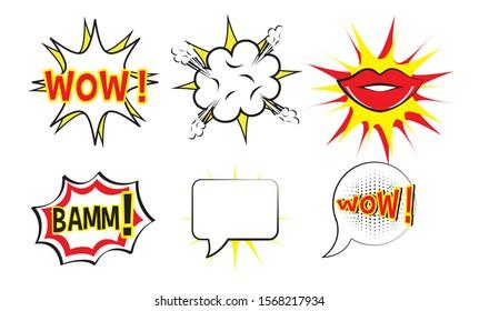 bundle of expression style pop art vector illustration design