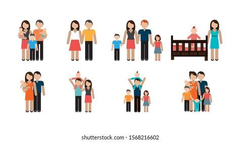 bundle of family members avatar character vector illustration design