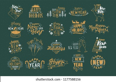Bundle of festive Happy New 2019 Year inscriptions handwritten with creative calligraphic fonts and decorated with holiday elements - baubles, fireworks, garlands, snowflakes. Vector illustration.