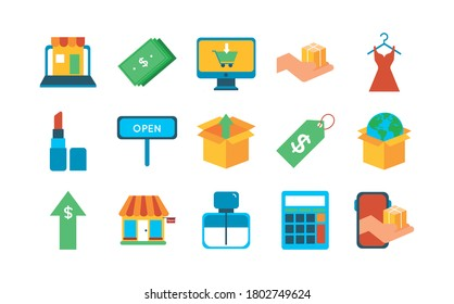bundle of fifteen shopping set icons vector illustration design