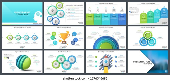 Bundle of flat and realistic infographic design layouts - diagrams and charts with round and rectangular elements, sphere, gear, spaceship business models. Vector illustration for presentation slides.