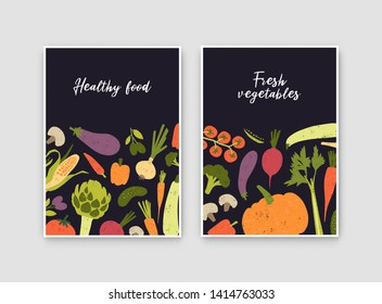 Bundle of flyer or poster templates with fresh ripe organic vegetables and place for text. Healthy vegan food or locally grown crops advertisement. Colorful vector illustration in modern flat style.