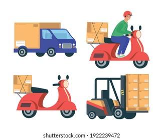 bundle of four delivery service set icons vector illustration design