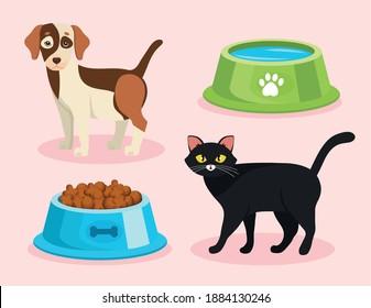 bundle of four pet shop set icons vector illustration design