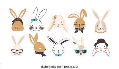 Bundle of funny bunny faces isolated on white background. Set of cute rabbits or hares wearing glasses, sunglasses, hat, scarf, headscarf, bow tie, collar. Flat cartoon colorful vector illustration