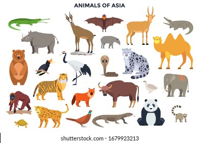 Bundle of funny wild animals and birds of Asia. Collection of exotic fauna of Asian continent. Set of cute cartoon characters isolated on white background. Colorful vector illustration in flat style.